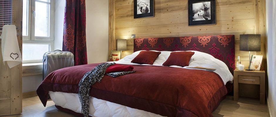 La chambre de l'appartement - Chalet Les Marmottons à La Rosière