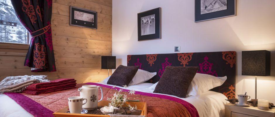 La chambre de l'appartement - Les Balcons Étoilés à Champagny-en-Vanoise