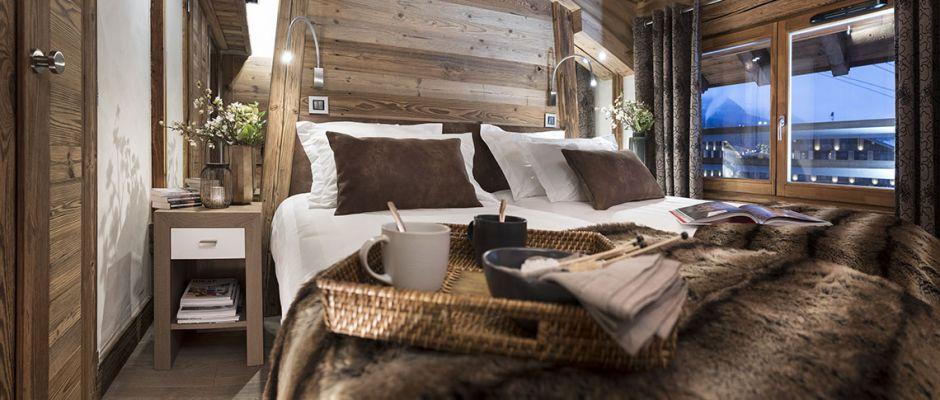 La chambre de l'appartement - Le Cristal de Jade à Chamonix