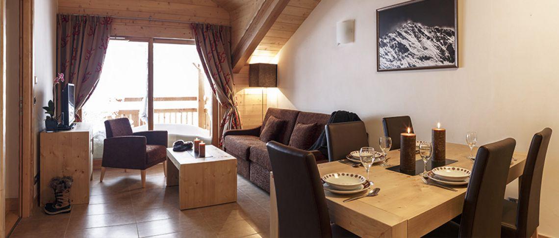 Le salon de l'appartement - Le Napoléon à Montgenèvre