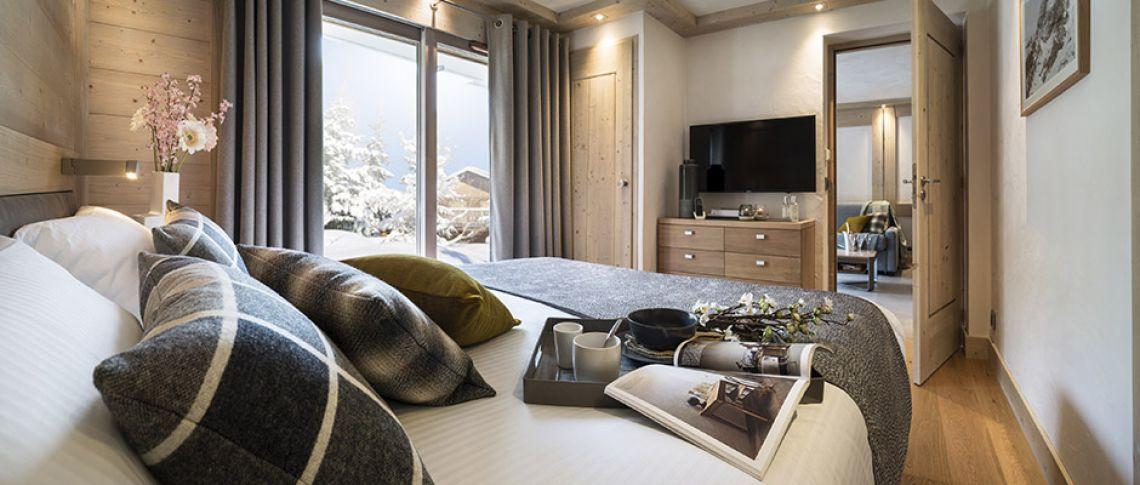 La chambre de l'appartement - Résidence Alexane à Samoëns